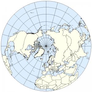 Chérif Arbouz - La Fantastique Odyssée - Projection polaire de l'hémisphère nord terrestre (Credits: Sean Baker)